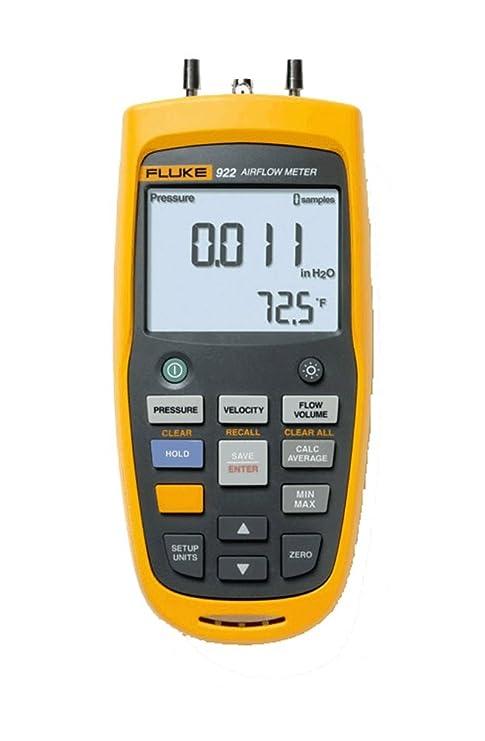 Fluke 922 Airflow Micromanometer with Bright Backlit Display, +/- 0 6 psi  Pressure, 16000 fpm Velocity, 99999 cfm Volume
