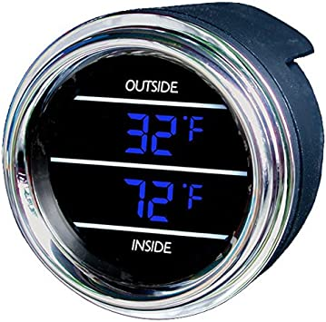 Amazon.com: Teltek USA Inside Outside Auto Thermometer Gauge Dual Display  for Any Semi, Pickup Truck or Car - Bezel: Black - LED Color: Blue:  Automotive
