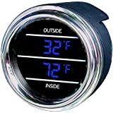 Inside Outside Auto Thermometer Gauge dual display for Any Semi, Pickup Truck or Car - Bezel: Black - LED Color: Blue