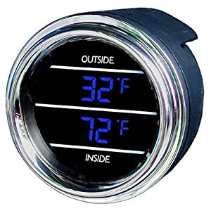 inside outside auto thermometer gauge dual display for any semi pickup truck or car. Black Bedroom Furniture Sets. Home Design Ideas