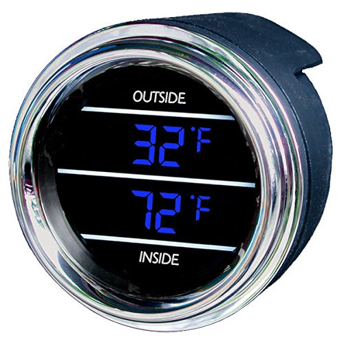 Teltek USA Inside Outside Auto Thermometer Gauge Dual Display for Any Semi, Pickup Truck or Car - Bezel: Black - LED Color: Blue ()