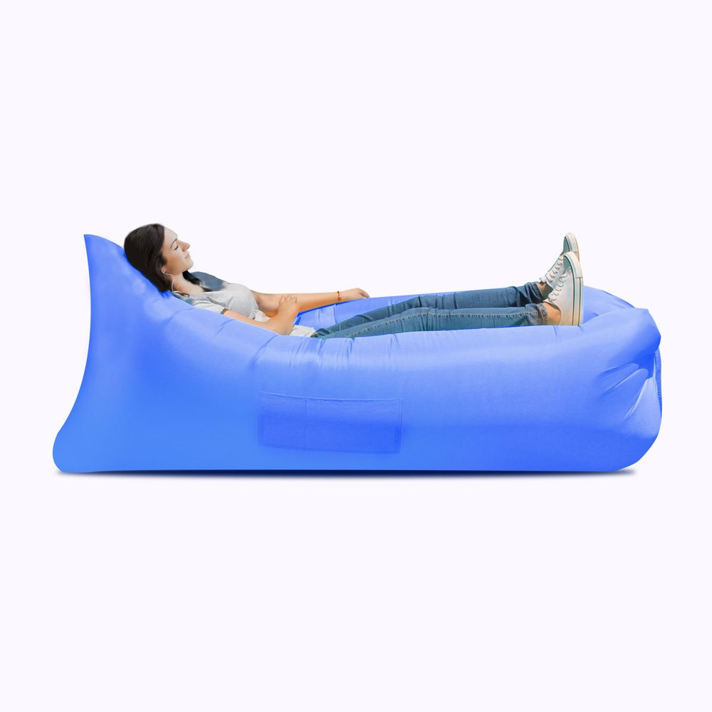 Ideal inflatable sofa, camping, portable waterproof leakproof sofa bed - perfect air chair for pool and beach party ( Color : Blue ) by JYKJ