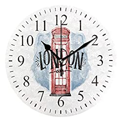 CENHOME Custom Wall Clock Cabin Telephone London Watercolor Home Decor Round Acrylic Clock Large Numbers Silent Non-Ticking Battery Operated Decorative Room Painting Clock 9.45in