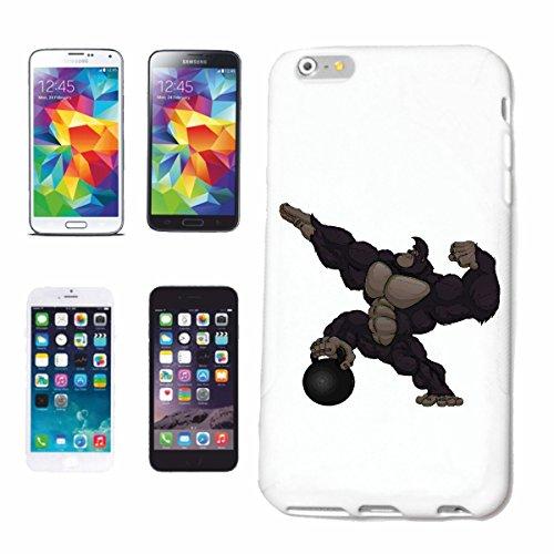 "cas de téléphone iPhone 7+ Plus ""GORILLA EN WEIGHTLIFTING MONKEY MONKEY GORILLA CHIMP SILVER RETOUR APE CHARLY MONKEY KING KONG"" Hard Case Cover Téléphone Covers Smart Cover pour Apple iPhone en blanc"