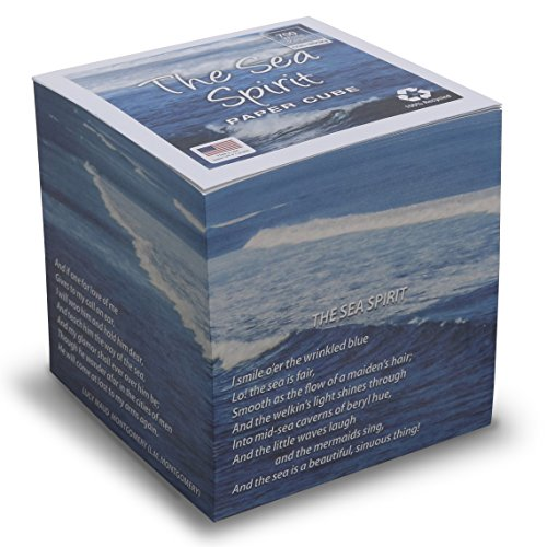 "Ocean Poem Note Cube white pages NOT STICKY 3.5"" cube Made in USA (paper US or CAN) 100% Recycled 24 lb. bond - 700 tear-off pages NOT LOOSE - poem by Anne of Green Gables author Lucy Maud Montgomery"