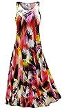 Red Marvel Slinky Print Plus Size Sleeveless A-Line Maxi Dress LGP