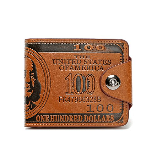 ThunderStar Creative Men's Wallet Unisex Purse 100 Dollar Bill Money Bifold Card Holder Handbag (Brown)