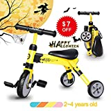 2 en 1 enfants Glide Tricycles Toddler Tricycle Baby Balance Bike Trike pour 2 ans et plus Garçons Filles Cadeau Enfants Bike Trike Tricycle Enfants 2-4 ans Toddler Bike Trike Enfants Balance Balance (Jaune)