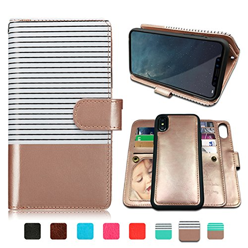 iPhone Xs MAX Case,iPhone Xs MAX Wallet Case with Magnetic Detachable Case,9 Card Slots,Wrist Strap,CASEOWL 2 in 1 Folio Flip Premium PU Leather Wallet Case for iPhone Xs MAX/10s Max(White&Rose Gold)