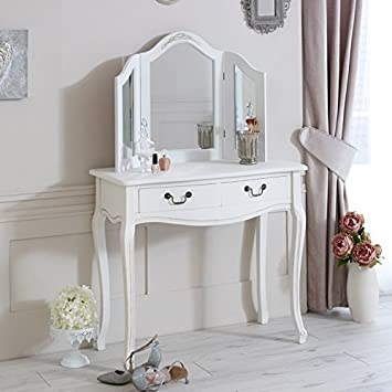 best cheap b8e9a a12f6 Melody Maison Classic White Range - Dressing Table with Mirror