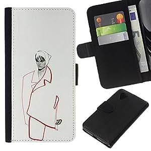 KLONGSHOP // Tirón de la caja Cartera de cuero con ranuras para tarjetas - moda mujer minimalista de alta costura - LG Nexus 5 D820 D821 //