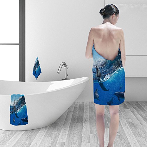Hand towel set Oceanview sunlight flock of playful dolphins swimming underwater and one of them leaping out from big sea surfing wave personality printPolyesternon-mildewpattern custom made