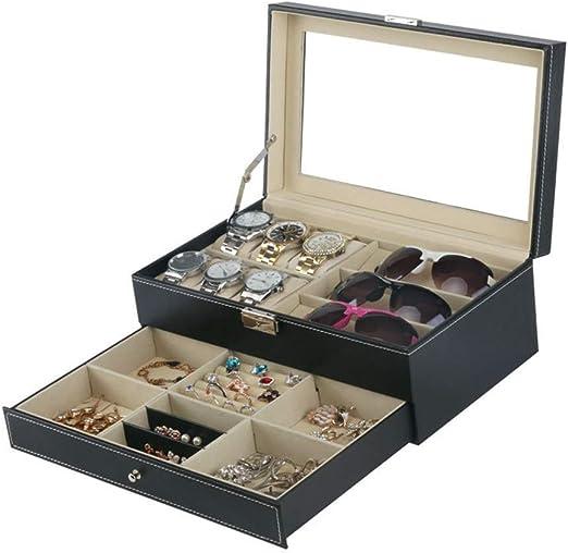 Gafas Sol ColeccióN Estuche Doble Negro PU Reloj Gafas Joyero Caja ...
