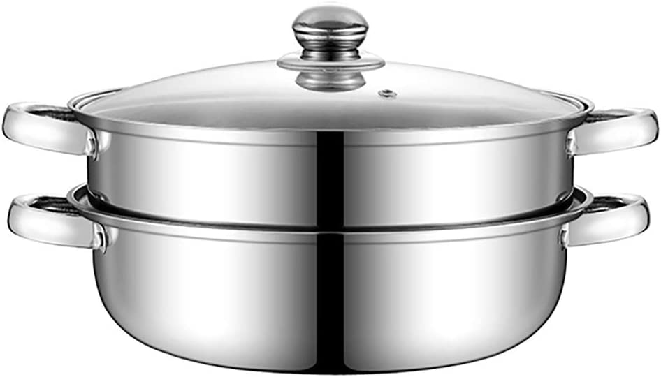Hot Pot Glass Lid, Steamer Set. Soup Base Korean BBQ Multi Cooker Stainless Steel Pot Set (2 Tier Steamer)