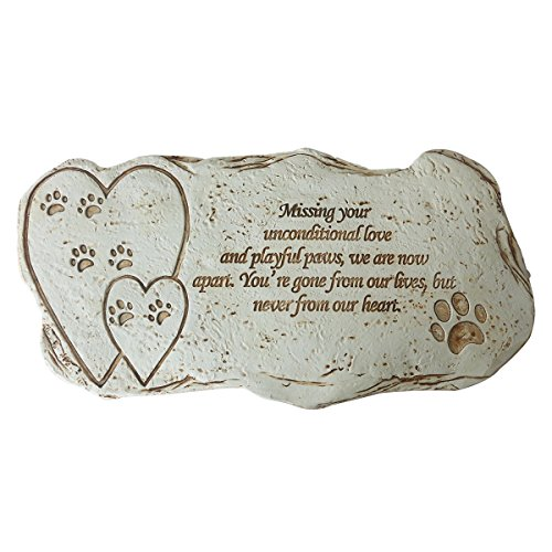 JHP Pet Memorial Stones Marker for Dog or Cat, Pet Loss of Gifts with Poem and Paw Print, Garden Stone for Loved Pet, Pet Grave Headstone Tombstone (Stone Cast Dog)