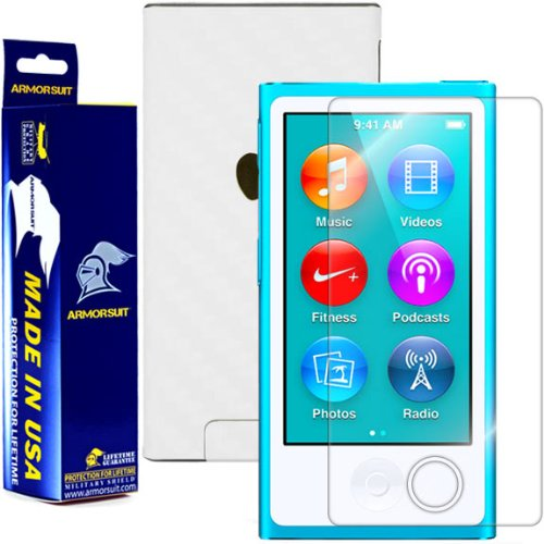 Ipod Carbon Fiber Skin - ArmorSuit Apple iPod Nano 7th Generation Screen Protector MilitaryShield + White Carbon Fiber Skin Wrap Back Film Protector For iPod Nano 7th Generation