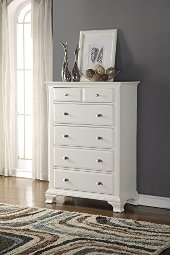 Roundhill Furniture Laveno Wood 5-Drawer Chest, White (Furniture Bedroom Tall Dresser Drawers)