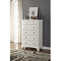 Roundhill Furniture Laveno 012 White Wood 5-Drawer Chest
