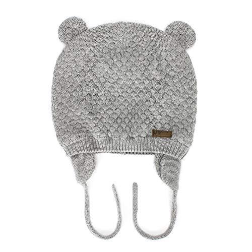 MK MATT KEELY Infant Boys Girls Winter Warm Knit Hat Cute Bear Toddler Beanie Ear Flap Hat Grey