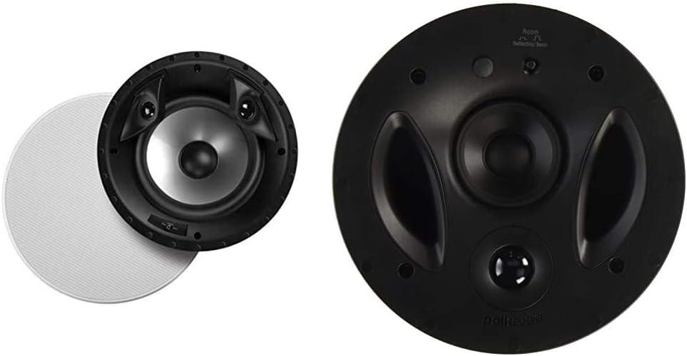 "Polk Audio 80F/X-RT in-Ceiling 2-Way Round Surround Speakers, White, Pair & 70-RT 3-Way in-Ceiling Speaker (2.5"" Driver, 7"" Sub) - The Vanishing Series | Power Port | Dual Band-Pass Bass Ports"