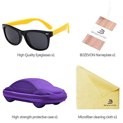 ... BOZEVON Unisexe Wayfarer Polarisées Lunettes de Soleil pour Enfants  Garçons Filles Monture en caoutchouc flexible Sport bf016542efd2