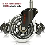 Professional Office Chair Wheels 10mm Stem - FIT IKEA Chairs ONLY - 3'' Replacement Rollerblade Rubber Chair Casters - Best Protection for Your Hardwood Floors Without Any Chair MATS