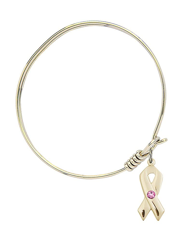 6 1//4 inch Round Eye Hook Bangle Bracelet w//Cancer Awareness Medal Charm w//Rose Swarovski Crystal