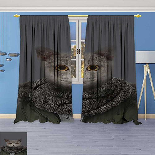 SOCOMIMI Print Woven Sateen Window Curtain,cat in Jacket Panel Pair with Grommet Top, 84W x 108L inch