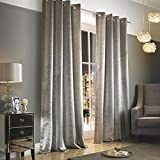 Adelphi Mist Lined Ready Made Eyelet Ring Top Textured Velvet Curtains by Kylie Minogue at Home 66in x 72in (168cm x 183cm) by Kylie Minogue At Home