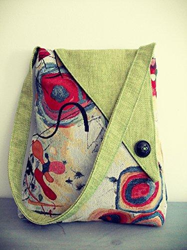 Handmade Fabric Handbags - Handmade in Italy Shoulder Handbag, Kandinskij Fabric