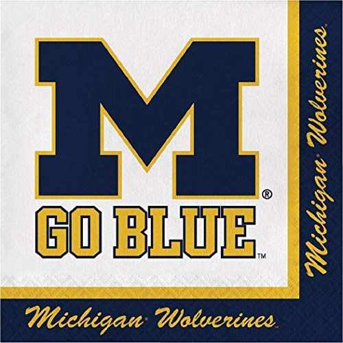 Michigan Wolverines NCAA Napkins Football Sports Themed College University Party Supply Napkins for Beverage for 20 Guests Blue Yellow Color Paper Napkins