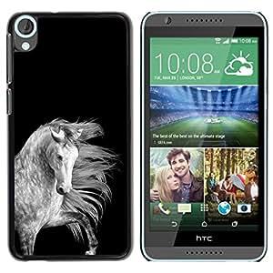 Horse Mane Negro Blanco Gris Hermosa- Metal de aluminio y de plástico duro Caja del teléfono - Negro - HTC Desire 820