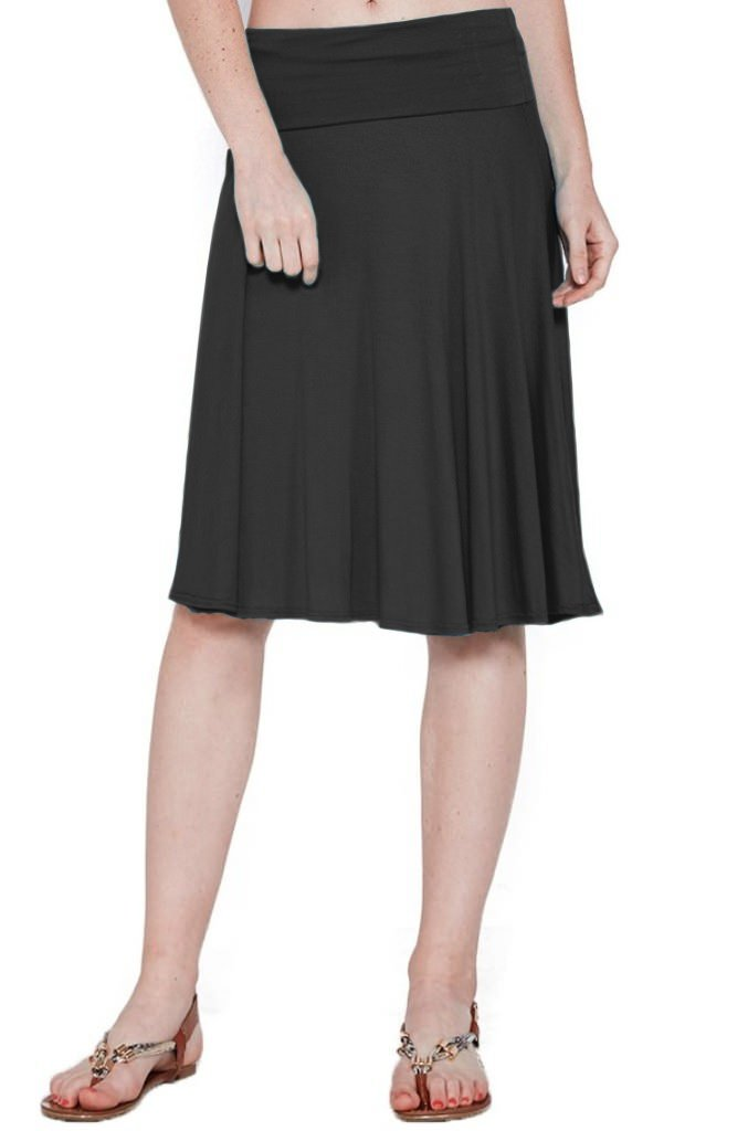 12 Ami Solid Basic Fold-Over Stretch Midi Short Skirt Black Medium