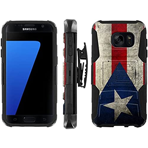 [ArmorXtreme] Case for Samsung Galaxy S7 Black/Black [Combat Armor Heavy Duty Case with Holster] - [Puerto Rico Flag] Sales
