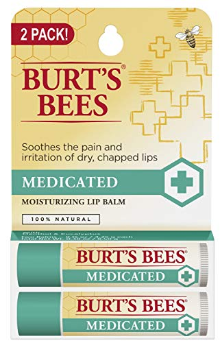 Burt's Bees 100% Natural Medicated Moisturizing Lip Balm with Menthol  Eucalyptus - 2 Tubes