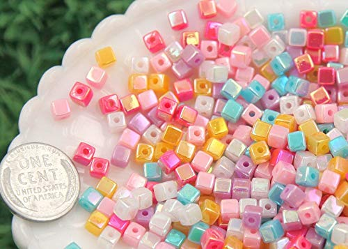 Yunakesa 4mm Super Tiny Iridescent Pastel AB Mix Square Cube Acrylic or Resin Beads - 200 pc Set