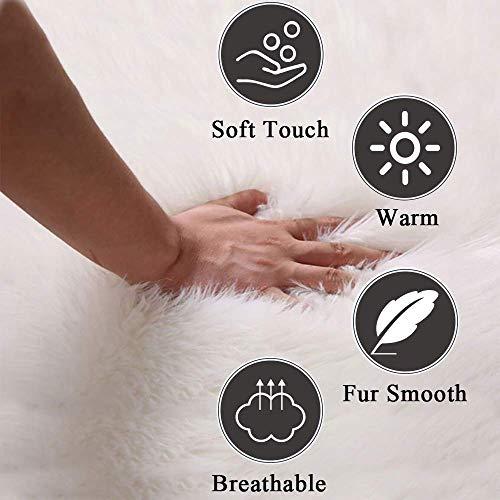 LOCHAS Super Soft Fluffy Faux Sheepskin Fur Area Rug