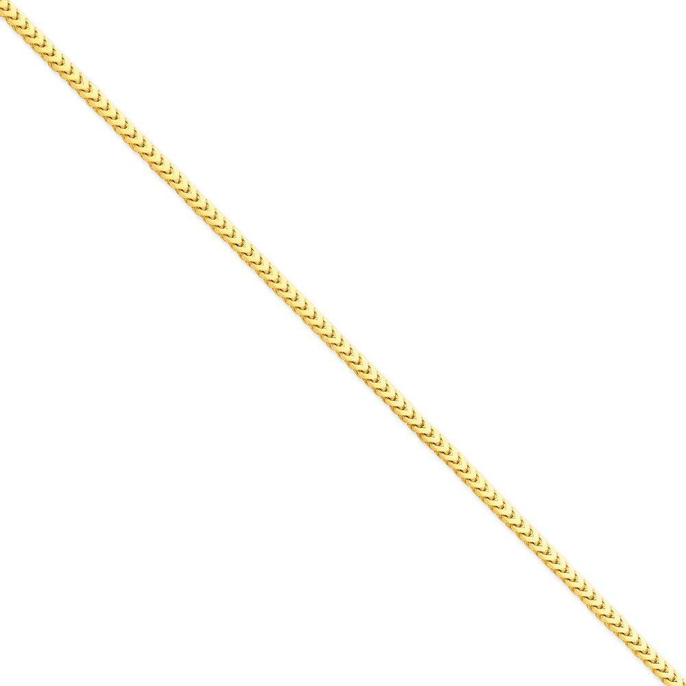 14k Solid Yellow Gold 3mm Franco Anklet Bracelet -9'' (9in x 3mm)