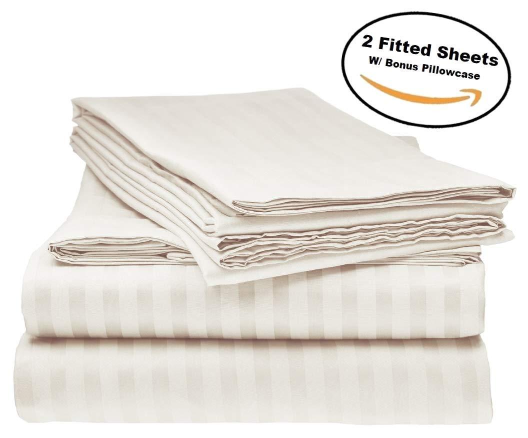 Elaine Karen Deluxe 2Pk Fitted Bed Sheets - Bottom Sheet, Soft 1800 Bedding, Brushed Microfiber, Hypoallergenic, Wrinkle, Fade, Stain Resistant - Bonus 2 Free Pillowcases - (King Size Ivory)
