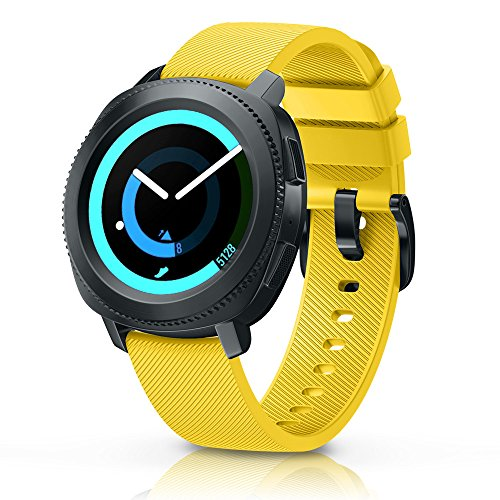 ANCOOL Compatible Gear Sport Band Replacement 20mm Silicone Watch Band Compatible Samsung Gear Sport/Galaxy Watch (42mm)/Ticwatch E/Ticwatch 2/Vivoactive 3 Watch - Small Yellow