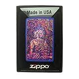 Zippo Custom Lighter - Blue Matte Buddha Vivid