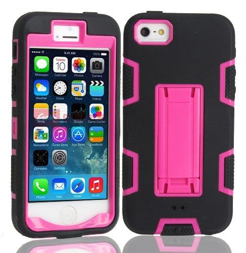 iPhone 5 5S SE Hülle , Heavy Duty Kickstand Rose PU Harte Rüstung Tasche Schutzhülle Shockproof Handyhülle Stoßdämpfende Schale Fall Case Shell Halter für Apple iPhone 5 5S SE