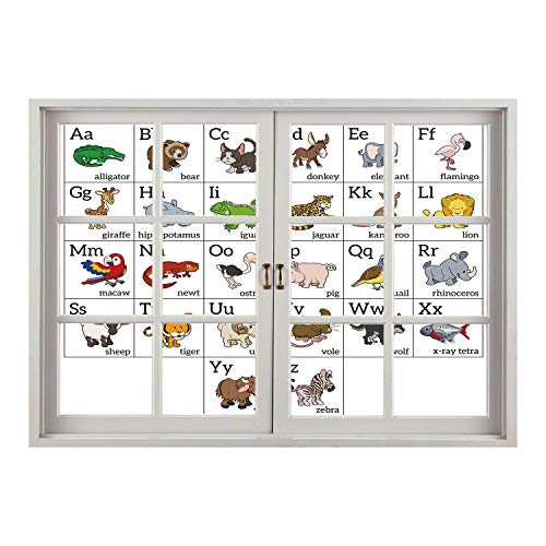 SCOCICI Peel and Stick Fabric Illusion 3D Wall Decal Photo Sticker/Educational,Alphabet Learning Chart with Cartoon Animals Names Letters Upper and Lowercase Decorative,Multicolor/Wall Sticker Mural ()