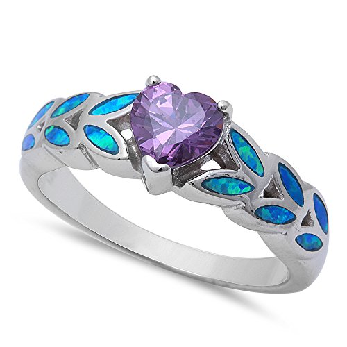 Heart Shape Simulated Amethyst & Lab Created Blue Opal .925 Sterling Silver Ring Size 7 ()