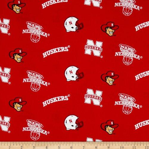 Sykel Enterprises Collegiate Cotton Broadcloth University of Nebraska Cornhuskers Poppy, Fabric by the Yard