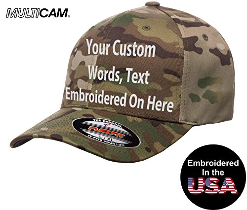 Custom Hat. Flexfit 6277MC Embroidered. Your Own Text Curved Bill. (S/M, Licensed Multi Camo) ()