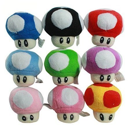 Super Mario Bros Toad Mushroom 2.5 Inch Toddler Stuffed Plush Kids Toys 9 Pcs/set (Mario Stuffed Animals Mushrooms)