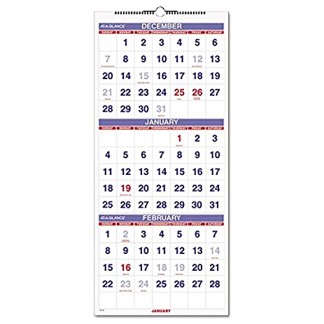 amazon com vertical format 3 month reference wall calendar 12 1 4