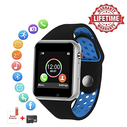 Smart Watch for Android,HongTu Waterproof Sport Smart Watches Touch Screen with Camera Pedometer SIM TF Card Slot with Compatible iOS iPhone X 8 7 6 6S Plus Android Samsung for Women Man (blue-sliver)
