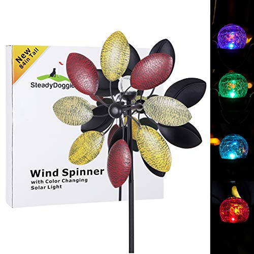 Solar Wind Spinner 3d Kinetic Wind Spinners Outdoor Metal Gardening Decorations With Multi Color Led Lighting